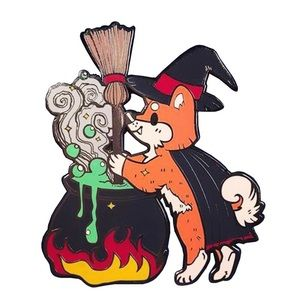 Cute Halloween Fox Witch and Cauldron Enamel Pin